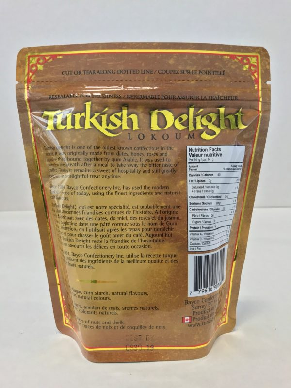 Assorted Turkish Delight in a resealable stand up pouch