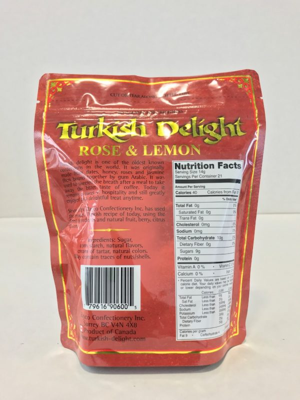 Rose & Lemon Turkish Delight in a resealable stand up pouch