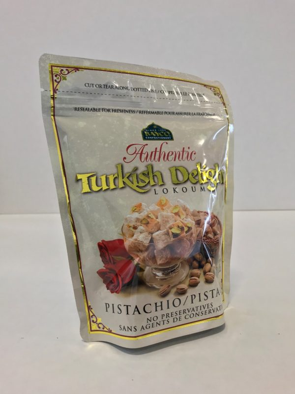 Pistachio Turkish Delight in a resealable stand up pouch