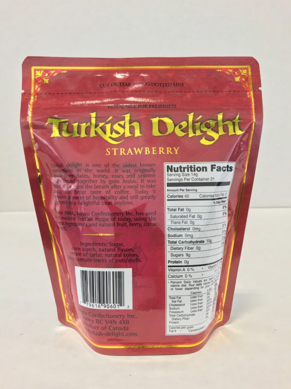 Strawberry Turkish Delight in a resealable stand up pouch