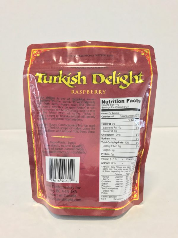 Raspberry Turkish Delight in a resealable stand up pouch