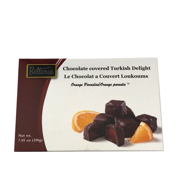 chocolate covered orange turkish delight gift box white