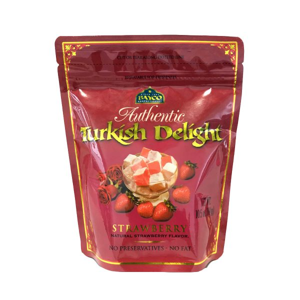 strawberry turkish delight pouch white